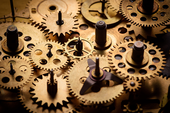 Information naturalization analogy: connected component gears are fully functional parts of something bigger.